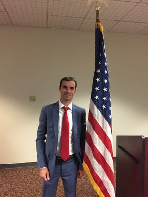 Jockey Florent Geroux at his citizenship ceremony in May.