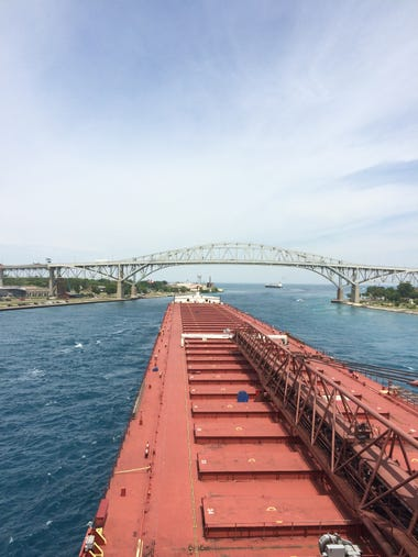 The Paul R. Tregurtha travels near the Blue Water Bridge