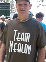 Kevin Nealon's family and friends get T-shirts made every year for the ACC that they wear as they follow him around the course.