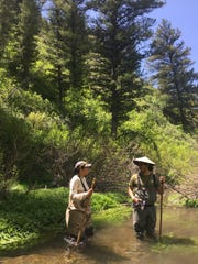 Two AIM interns learn to assess the aquatic environment during a week-long training in Utah.  These same interns are now collecting aquatic data from stream segments located on BLM-managed public land in New Mexico.
