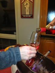 Inspire Moore Winery's dry rose, Grace, is poured at