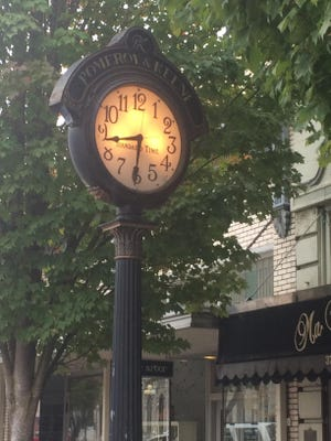 The Pomeroy & Keene clock is seen recently on State Street in downtown Salem.