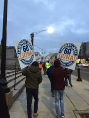 Construction union workers protest at Yonkers City Hall on Dec. 17, 2018.