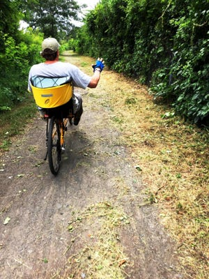Marblehead's rail trail is in for a redesign thanks to a Mass Trail Grant, which will benefit users like this cyclist.