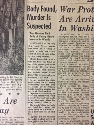 An article in the Oct. 20, 1967, edition of The Holland Evening Sentinel describes the discovery of the victim's body in a clump of woods near the intersection of 52nd Avenue and Fillmore Street in Blendon Township.