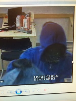 A surveillance video still image of the man who robbed the Santander Bank at 741 Brewers Bridge Road in Jackson Thursday evening.