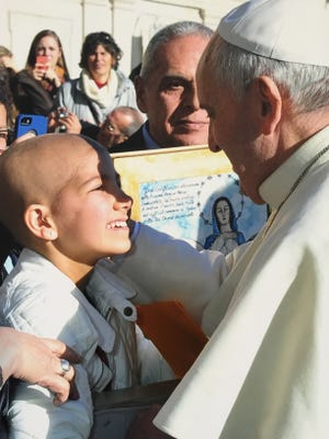Gracie West met Pope Francis in Vatican City in December, which was her wish with the Make-A-Wish Foundation.
