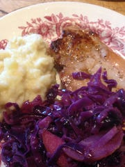 Pork chop, red cabbage and mashed potatoes, culled from the fridge.