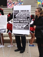 A sign Thursday holds a photo of an original advertisement of the Camden Drive-In movie theater. The ad was from a Courier-Post newspaper.