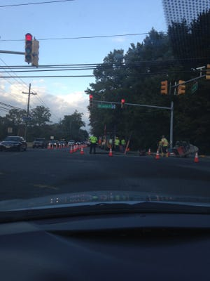 Utility authority employees are working to correct what they suspect is a sewer main leak at the corner of Union Mill and Moorestown-Mount Laurel roads.