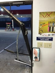 A vehicle crashed into the Good and Quick in Nevada on Thursday, nearly striking people inside.