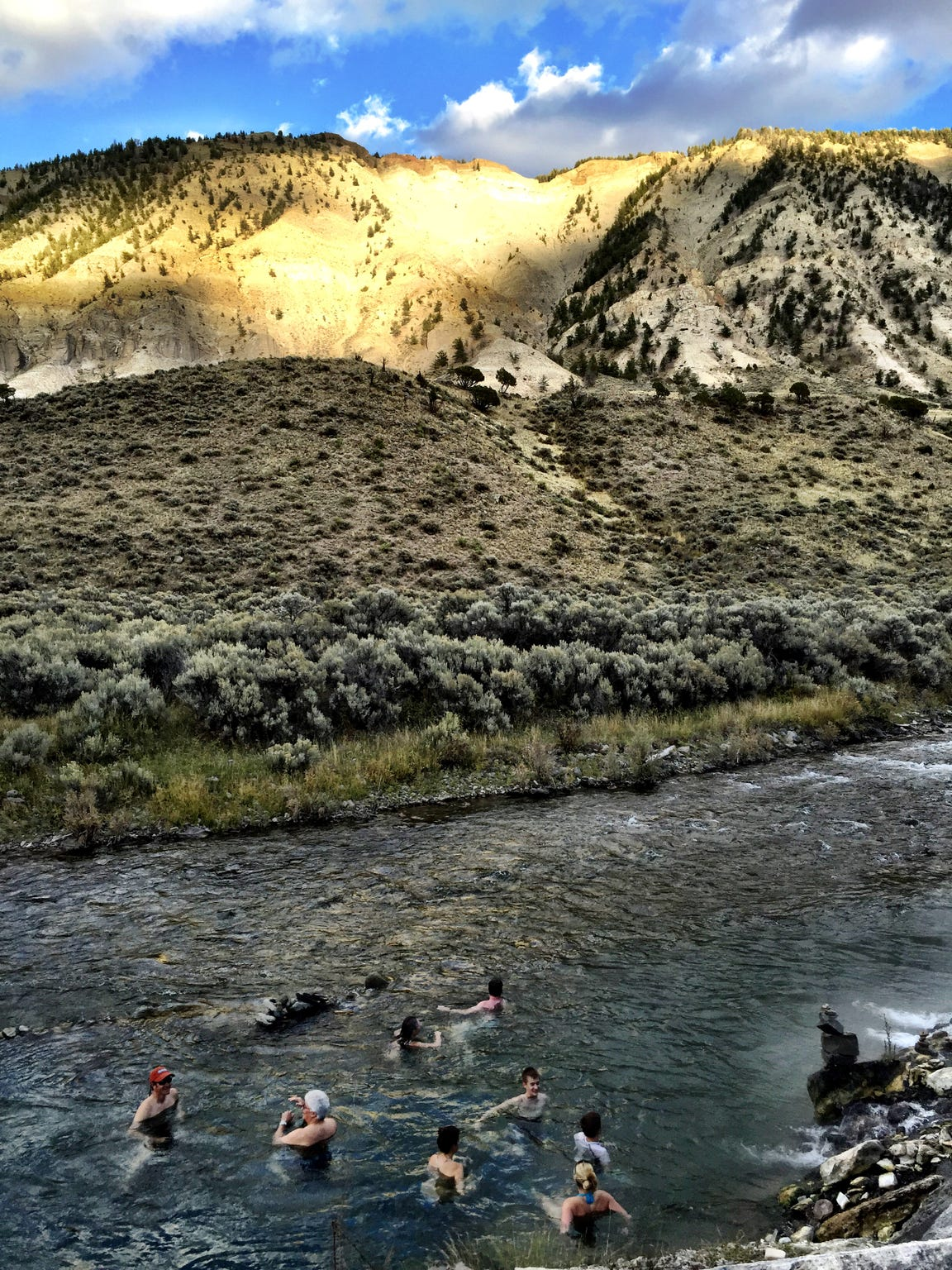 The Boiling River is a popular spot for a dip in Yellowstone