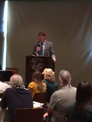 Packers President and CEO Mark Murphy addresses teachers during a Fuel Up and Play 60 event at Lambeau Field/Patti Zarling