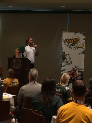 Former Green Bay Packers offensive lineman Mark Tauscher talks to teachers during a Fuel Up and Play 60 event at Lambeau Field/Patti Zarling