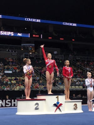 Alexis Vasquez took home the junior division balance beam national title at the P&G Championships on Saturday.