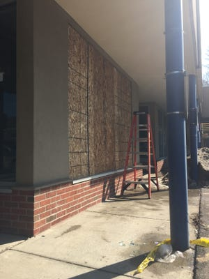 On Wednesday afternoon a deer crashed through two thick, double-pane windows of this storage space near Maxie's Supper Club & Oyster Bar in downtown Ithaca. The animal was injured in the incident and hit by a car as it ran away from the scene.