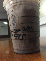 Starbucks was willing to whip up this recipe for me: strawberries and cream frappuccino, java chips and mocha drizzle. The result? A Chocolate Covered Strawberry Frappuccino.