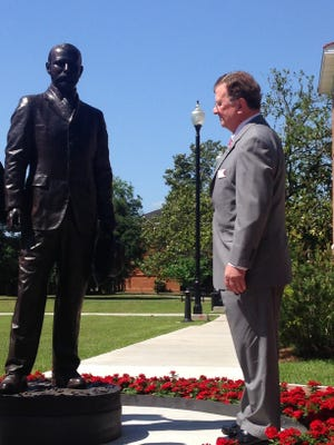 A bronze statue of the Southwestern Louisiana Industrial Institute's first president Edwin Lewis Stephens was unveiled on the now-University of Louisiana at Lafayette campus today.