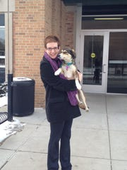 Stephanie Orlowski and her dog, Sophie, who benefited from the IRONDOG Fund at the MSU Veterinary Teaching Hospital.