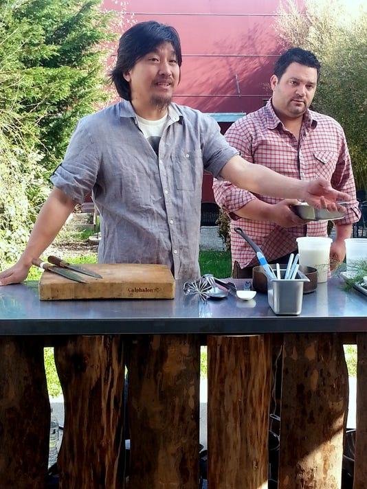 Lee and Michael Hudman prepared for filming at 610's Wine Studio courtyard.jpg