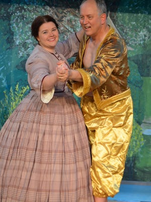 """Laura Van Fossen as Anna and Gary Crockett as the king in Corydon's Hayswood Theatre's production of """"The King and I."""""""