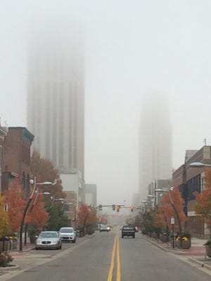 Dense fog obscures the top of Battle Creek's tallest buildings at mid-morning Thursday.