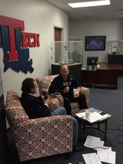 Louisiana Tech coach Skip Holtz, right, discusses signing day Wednesday with host Teddy Allen.