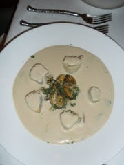 Chowder featuring blue mussels, apple and celery root at Morgan's in the Desert.