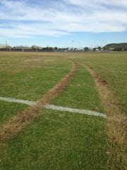 Tire tacks left in the football field at Goldwater High School in Phoenix, where police say someone drove a stolen vehicle.