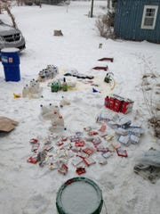 Evidence found in late January at the scene of a methamphetamine investigation at a home in the 7000 block of Forest Road in Worth Township. The Sanilac County Drug Task Force said it is interviewing about 40 people in connection to the meth investigation.