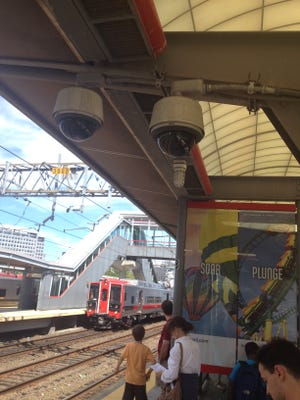 The security cameras at the Stamford, Connecticut, station are in plain view just over waiting passengers' heads.