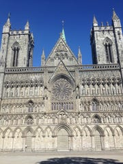 The west wall of Nidaros Cathedral in Trondheim, Norway, bears intricate carvings of biblical figures.