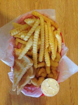21 Mini Shrimp Basket includes buttered toast.