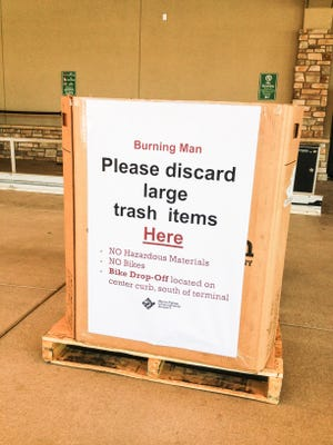 Many of the more than 17,000 Burners flying home through Reno-Tahoe International bring their trash to the airport.