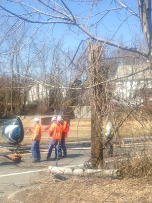 Three utility poles and wires down on Route 9A in Cortlandt Thursday.