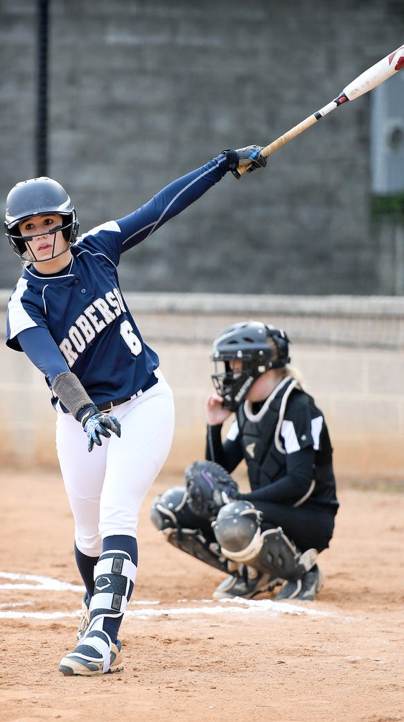 Roberson freshman Taylor Stingel stops out of batter's
