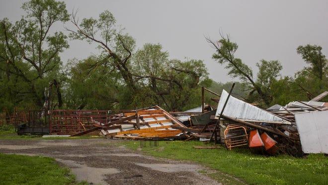 Storms moved through rural Lyon County, Kan., Saturday, May 16, 2015.