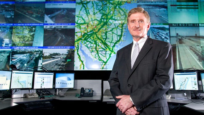 New Jersey Turnpike Authority CIO Barry Pelletteri at the New Jersey Turnpike Authority transit control center in Woodbridge, N.J., in front of an IBM transportation management solution that will help minimize congestion and improve traffic flow for the state by using advanced algorithms that analyze real-time traffic data.