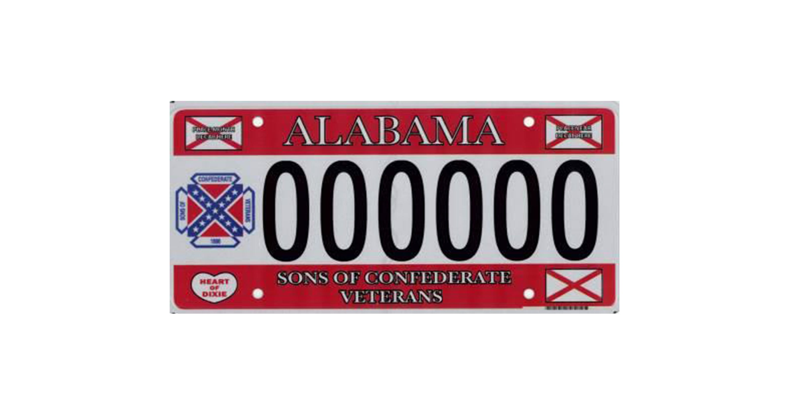 States where Confederate flag license plates are available