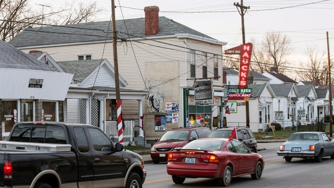 Landmarks like Hauck's on Goss Avenue anchor a mix of neighborhood tradition along a busy stretch in Germantown.