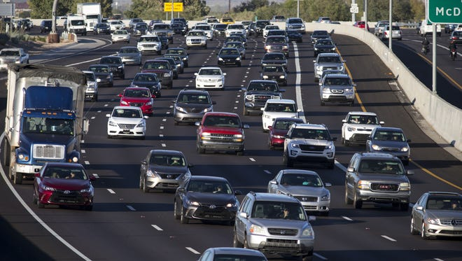 Southbound rush hour traffic on the Loop 101, November 17, 2016, near Thomas Road, Scottsdale.