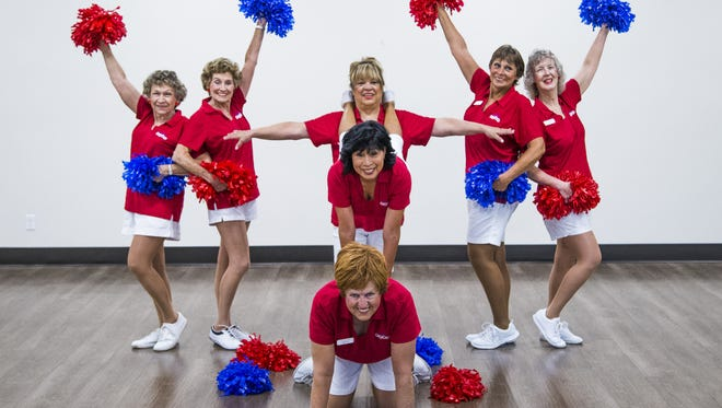 The Sun City Poms are a high-stepping, high-kicking dance group made up of ladies in their golden years from Sun City. They practice on May 8, 2017. They are (from left) Barbara Snyder, 78,  Ginger Price, 84, Janice Brown, 68, back, Rosemary Tiffany, 65, middle, Greta Paulsen, 69, front,  Gloria Tolla, 67, and Ruth Pharris, 70.