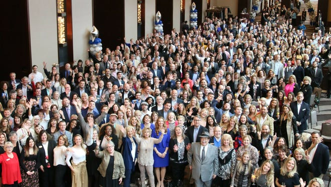 Nearly 400 of the 600 employees at Parks' annual meeting, held in February, gather for a group photo.
