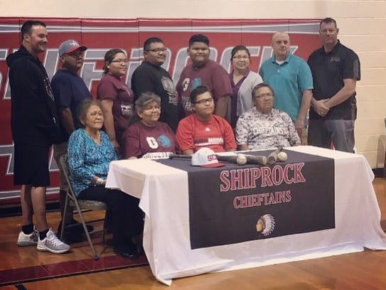 Shiprock's Aarwin Chee signs his national letter of
