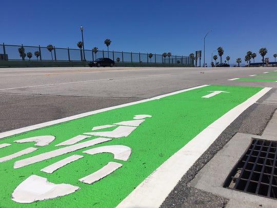 Bike lanes along Seaward Avenue in Ventura.