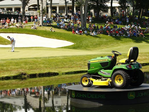 The tractor display near the 18th green is seen during the John Deere Classic held at TPC Deere Run.