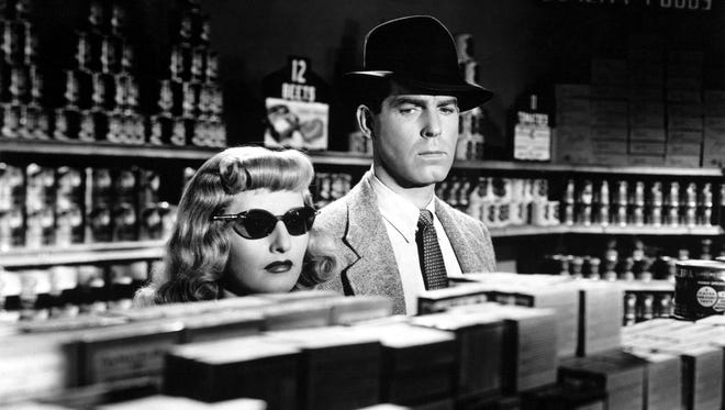 Barbara Stanwyk and Fred MacMurray star in the 1944 film noir classic 'Double Indemnity.'