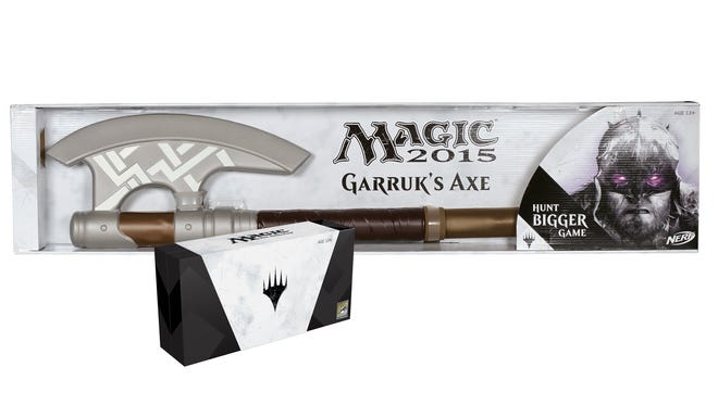 """Hasbro is offering an exclusive set at Comic-Con with a NERF version of Garruks Axe of """"Magic: The Gathering"""" fame plus a set of six limited-edition cards."""