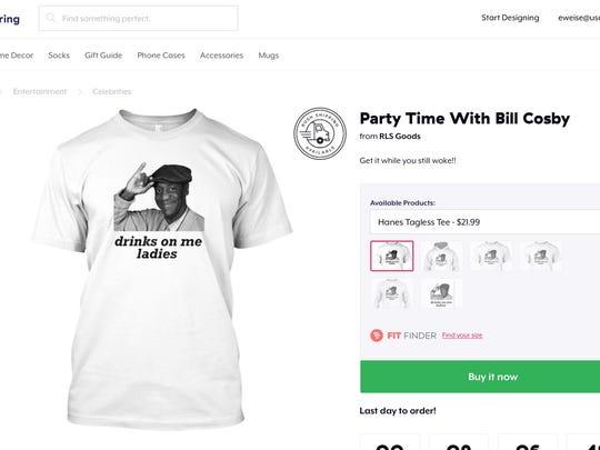 A T-shirt sold on the Teespring website featuring an