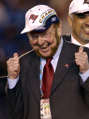 Tampa Bay Buccaneers team owner Malcolm Glazer celebrates after the Bucs defeated the Oakland Raiders 48-21 in Super Bowl XXXVII in San Diego on Jan. 26, 2003.